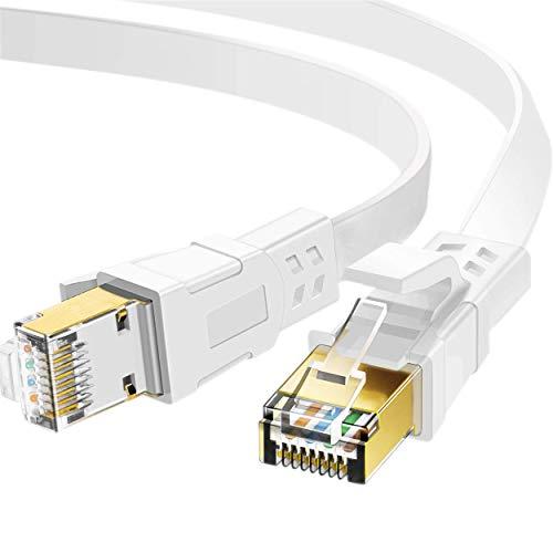 LANケーブル 10m Cat7 ホワイト、らんけーぶる イーサネットケーブル ウルトラフラットケーブル 高速 STP ...