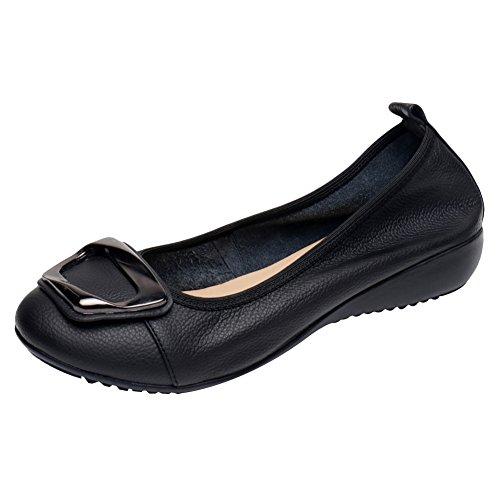 Jamron Mujer Piel Genuina Comodidad Zapatos Suela Blanda Bailarinas Talón de Cuña Baja Pantuflas Negro SN020624 EU38