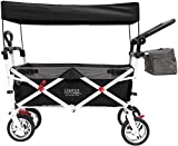 Creative Outdoor Distributor Push Pull Wagon for Kids, Foldable with Sun/Rain (Black)