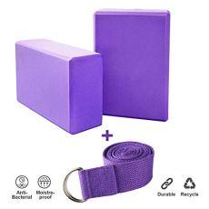 JIM'S STORE 2pcs Yoga Blöcke mit 1.8m Yogagurt, Yogablock/Yoga-Block Set Yoga und Pilates Training Dehnübungen für Anfänger und Fortgeschrittene (Violett)
