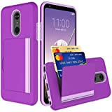 PhuLok Wallet Credit Designed for LG Stylo 5 Case (2019), PC+TPU Dual Layer Hybrid Shock Proof Kickstand Protective Case for LG Stylo 5 (2019) (Purple)