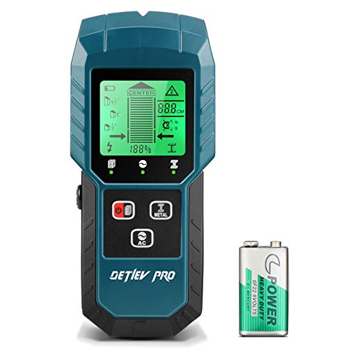 DETLEV PRO Stud Finder 5 in 1 Electronic Stud Sensor Detector Wall Scanner with LCD Display 350mAh Battery for Wood Live AC Wire Metal Studs