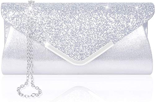Larcenciel Pochette Enveloppe Sac de Soirée en Paillettes Brillant Argenté pour Femme (argent)