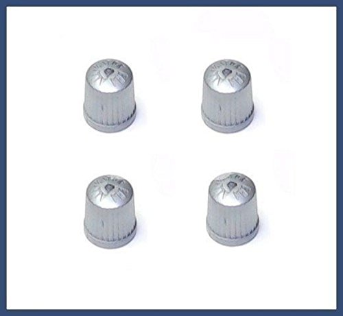BMW TPMS Wheel Valve Stem Cap set Gray (x4) tire air fill screw on cover