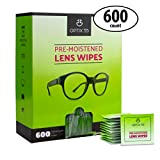 Eyeglass Cleaner Lens Wipes - 600 Pre-Moistened Cleaning Cloths in Hangable Box for Wall | Glasses Cleaner Wipe Safely Cleans Eye Glasses, Sunglasses, Screens, Electronics & Camera Lense | Streak-Free