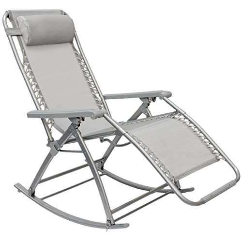 AMANKA Schaukelliege 178x70cm Schaukelstuhl in Grau Klappbarer Verstellbarer Relaxsessel Liege-Stuhl Stahlrahmen Belastbarkeit max. 120 KG