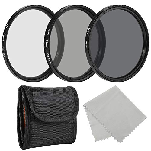 BELONGME Photo Professional Photography Filter Kit 58MM (UV, CPL Polarizer, Neutral Density ND4) for Camera Lens with 58MM Filter Thread + Filter Pouch (Electronics)