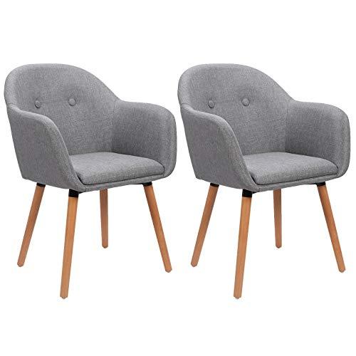 WOLTU 2Pz Sedie per Sala da Pranzo con Braccioli Poltrona Imbottita Gambe in Legno Seduta in Tessuto Lino