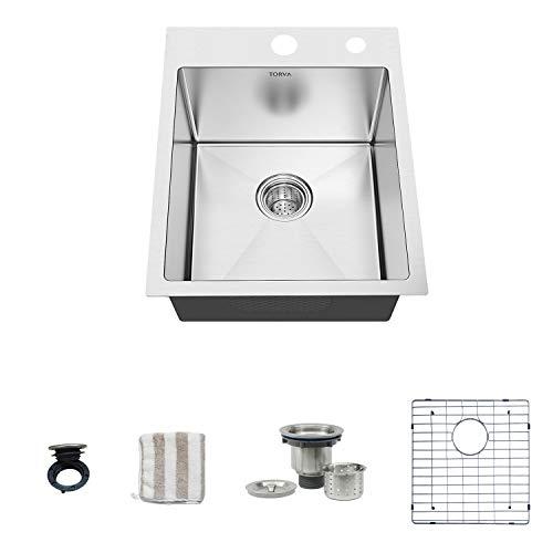 TORVA 15 Inch Drop in Kitchen Sink, 16 Gauge Stainless Steel