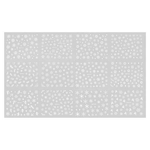Lurrose Snowflake Nail Sticker White Xmas Nail Decals 3D Self-adhesive Nail Art Stickers for Winter Holiday