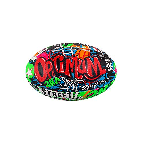 OPTIMUM 2nd Ball, Pallone da Rugby II da Uomo, Multicolore, Taglia 4 Unisex-Adult, Street Art, 3