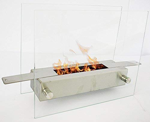 Clic and get Lisbon Bio Ethanol Fireplace Stainless Steel Table Gel Fireplace New Pack of 1, Silver/Clear/KL11