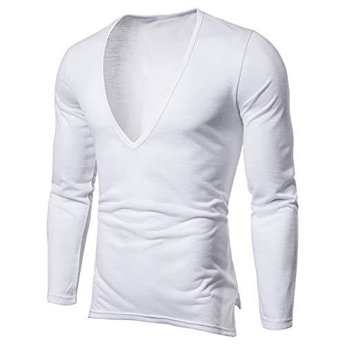 Xmiral T-Shirt Uomo T-Shirt Semplice Moda Casuale Maniche Corta T Shirt Maglietta da Uomo Camicie da Uomini Tees Manica Lunga Tops Maniche Corte Polo Maglietta Uomo L Bianca