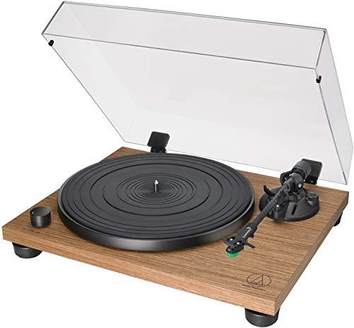 Audio Technica AT-LPW40WN Voll Manueller Plattenspieler mit zwei Geschwindigkeiten: 33-1/3 und 45 U/min, dynamische Steuerung gegen Rollen, Walnuss