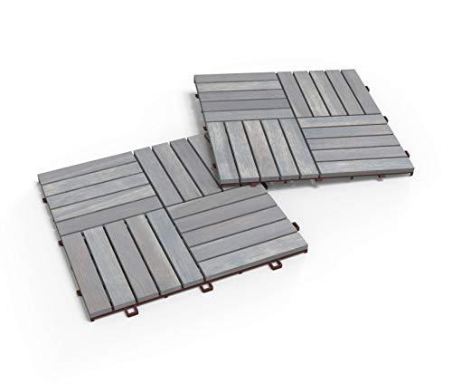 Acacia Hardwood Interlocking Patio Deck Tiles, 12' × 12' (Pack of...