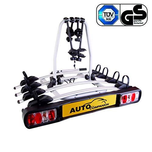 Auto Companion - Piattaforma portabici posteriore, per 4 biciclette, da fissare al giunto sferico di...