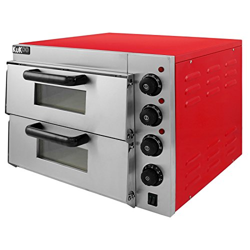 KuKoo Doppelkammer Pizzaofen Elektro Pizzaofen Doppel Backofen Pizzaofen mit Innenbeleuchtung Ofen Temperatur bis zu 350ºC
