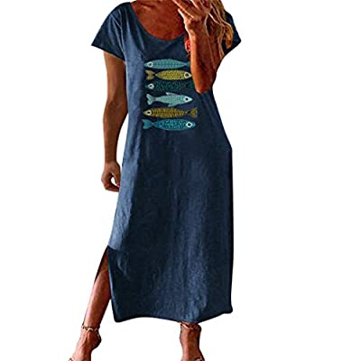 Long dress with short sleeves,casual summer dress with split, loose fit maxi dress. Occasion:Outdoor,Beach,Summer,Party,Dating,Daily recreation,Home. Fabric→95% Polyester + 5%Spandex.The material is very nice,soft and breathable, comfy to wear. Garme...