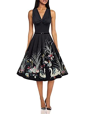SEXY AND Retro: This vintage sleeveless dress emphasized the waist by A-Line skirt and empire waist. Pleats on the shoulders and chest highlights the beauty of the classical, making this dress more feminine, sexy and cute BELLE POQUE VINTAGE DRESS : ...