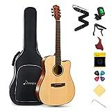 Donner Acoustic Guitar Kit for Beginner Adult Teen Full Size Cutaway Acustica Guitarra Starter Bundle Set with Gig Bag Strap Tuner Capo Pickguard String 4 Picks, Right Hand 41 Inch Natural, DAG-1C