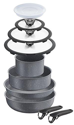 Lagostina Ingenio Induction Classico Batteria di Pentole, ad induzione, Effetto Pietra, Alluminio Antiaderente, Grigio, 16 cm, 10 Pezzi