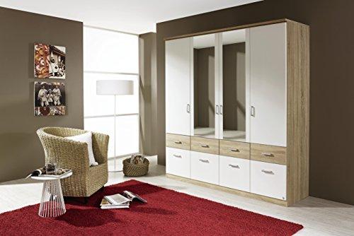 AVANTI TRENDSTORE - Royan - Armadio spazioso con specchio, cassetti e ante a battente in laminato di quercia Sonoma / bianco, dimensioni: LAP 181x199x56 cm
