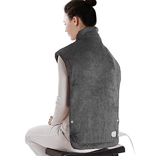XXX-Large Electric Heating Pad for Neck and Shoulders, Heating Pad for Back Pain with Auto Off, ETL Certified, FDA Registered, 6 Temperature Settings, Fast Heating, 25' x 32', Dark Gray