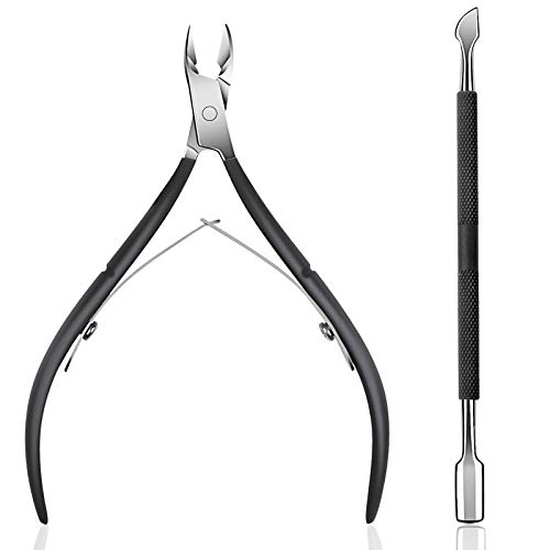 Cuticle Trimmer with Cuticle Pusher - Ejiubas Cuticle Remover Cuticle Nipper Professional Stainless Steel Cuticle Cutter Clipper Durable Pedicure Manicure Tools for Fingernails and Toenails Black