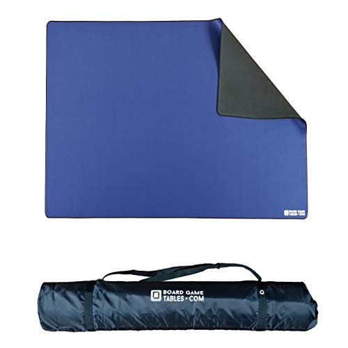 Board Game Playmat [5'6' x 3'6'/Thick Super Cushioned/Stitched Edge/Water Resistant/Blue] with Carrying Case - for Tabletop Board Games, Card Games, RPG Games
