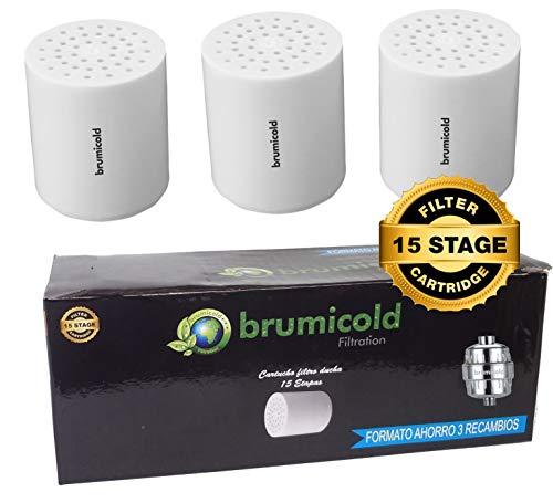 BRUMICOLD SPAIN PACK AHORRO 3 FILTRO DUCHA RECAMBIO RF-01-3 cartucho 15 Etapas,compatible con los filtros de 6,8,10,12 Etapas