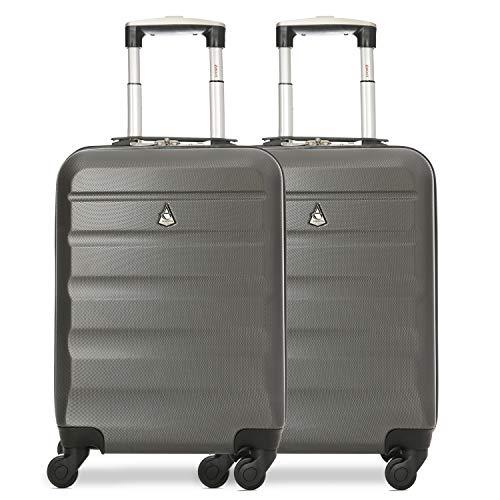 Aerolite 2 Teilig Leichtgewicht ABS Hartschale 4 Rollen Handgepäck Trolley Koffer Bordgepäck Kabinentrolley Reisekoffer Gepäck, Genehmigt für Ryanair