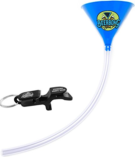 Premier Beer Bong Funnel - 3 Feet Of Premium Tubing, Holds 40 Ounces, Plus Shotgunning Keychain Included With Your Beer Bong, All Made in the USA (Blue)