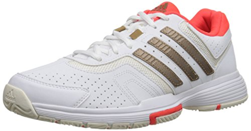 adidas Performance Women's Barricade Court W Tennis Shoe, White/Copper/Solar Red, 10.5 M US