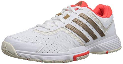 adidas Performance Women's Barricade Court W Tennis Shoe, White/Copper/Solar Red, 10.5 M US