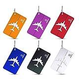 6 Piezas Etiquetas para Equipaje, identificador de Maletas de Etiqueta de Aluminio Tarjeta, Maletas Viaje Etiquetas Luggage ID Tag, Travel Bag Etiquetas de Equipaje para Maletas Equipaje Mochilas