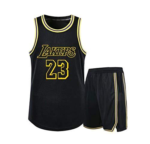 Verwendet für Nr. 23 Lebron James Fans Los Angeles Lakers Jungen Mädchen Basketball Trikotsets Wettkampfuniformen Sommerweste Shirt + Shorts Zweiteiliges Set-Black-M