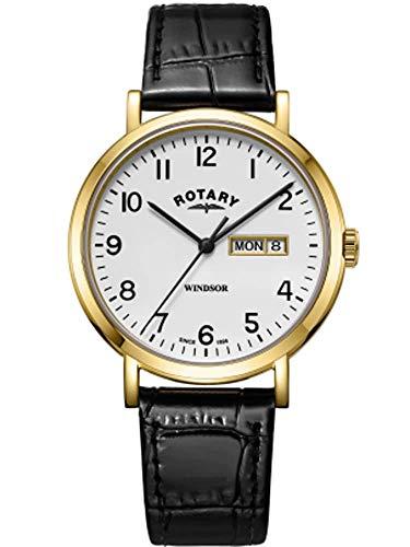 Rotary Herren Windsor schwarzes Lederarmband goldfarbenes Gehäuse GS05303/18
