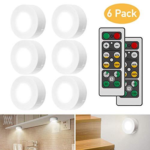iKALULA Luci Armadio LED, 6 Pezzi Lampada Armadio LED Luce LED Armadio con 2 Telecomando e Sensore...