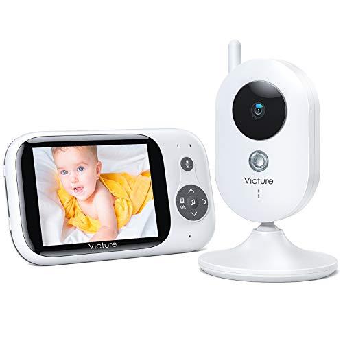 Victure Baby Monitor, Videocamera Babyphone con VOX Notturna Visione di Temperatura 8 Ninne Nanne Audio a Due Vie, Attivazione Vocale, Telecamere 930mAh Batteria con Schermo da 3.2' LCD