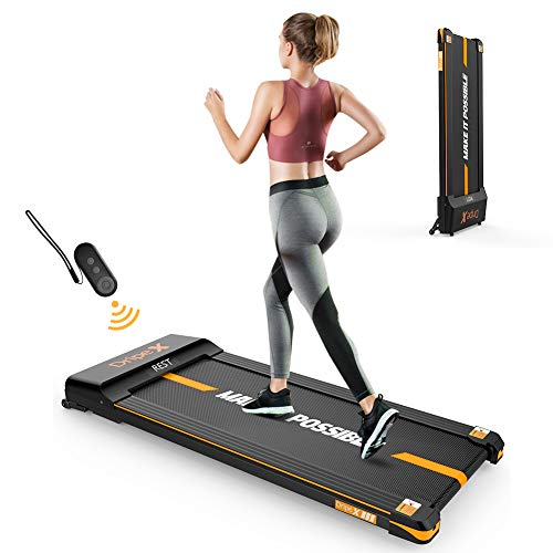 Dripex Under-Desk Treadmill with Remote Control, 1-6KM/H Adjustable Speed Running Machine, 500W Motor, LCD Screen, Stand Upright for Easy Storage, Perfect Walking Pad for Home & Office Working