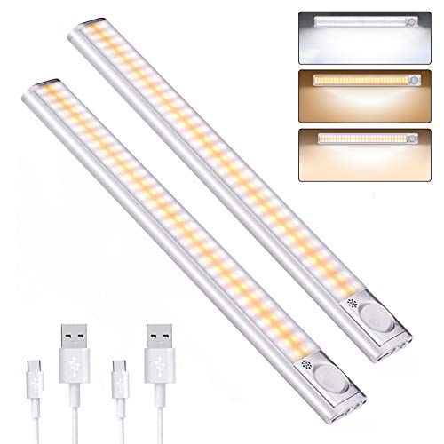 DFGOTOP Luce Led Sensore Movimento Armadio, Luce Cucina Senza Fili Ricaricabile, Luci Led Guardaroba Lampada Magnetica, 160 LED 3 Colori 4 Modalit Luminosit Regolabile