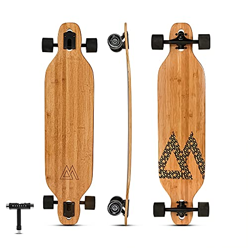 Magneto Bamboo Carbon Fiber Longboards Skateboards for Cruising, Carving, Free-Style, Downhill and...