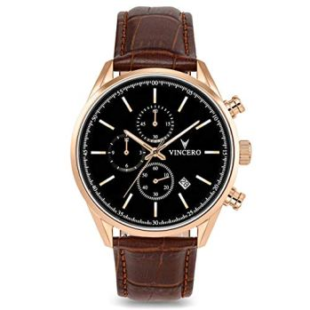 Vincero Men's Chrono S Luxury Watch 40mm Quartz Movement Rose Gold