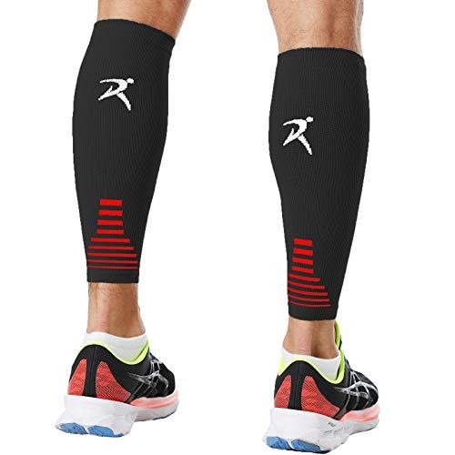 Rymora Calf Compression Sleeves (Ideal for Sports, Running, Shin Splints) (One Pair) (Black) (Medium) [M]