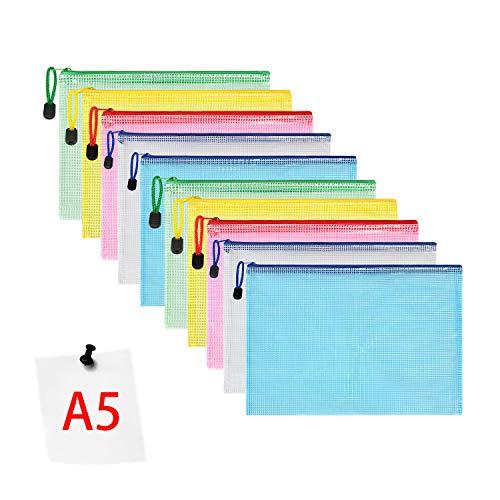 Vicloon Borse di File, A5 Sacchetto di Zip Impermeabile Mesh Sacchetto del Documento per Uffici Cosmetici Forniture Accessori da Viaggio, 5 Colori (10pcs)