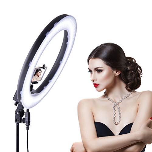 18-inch LED Luce Anello con Paralume a Due Colori, oscuramento a Passo, per l'auto-Timer, Trucco,...