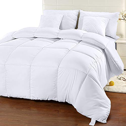 Utopia Bedding Comforter Duvet Insert - Quilted Comforter with Corner Tabs - Box Stitched Down Alternative Comforter (King, White)