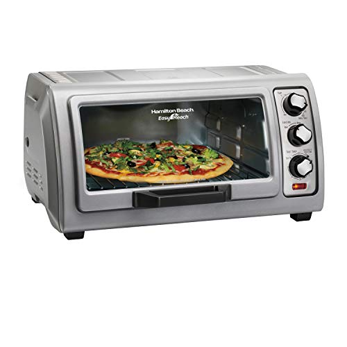 Hamilton Beach 6-Slice Countertop Toaster Oven with Easy Reach Roll-Top Door, Bake Pan, Silver (31127D)