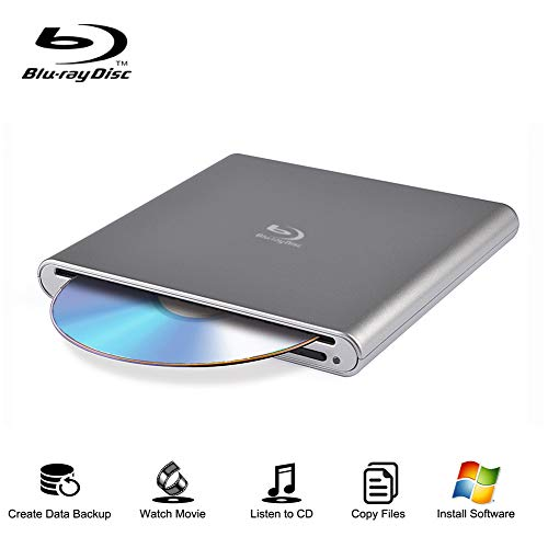 External Blu Ray Drive Portable Blu-Ray Player USB 2.0 Slot in BD CD DVD Burner with Eject Button Write Read CD DVD BD for Notebook Pro Air iMac Laptop (Sliver)