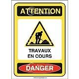 AUA SIGNALETIQUE - Panneau Attention travaux en Cours Danger - AI - 300x420 mm, Vinyl adhésif